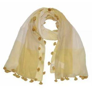 Eileen Fisher Organic Cotton Blocks Yellow Tassel